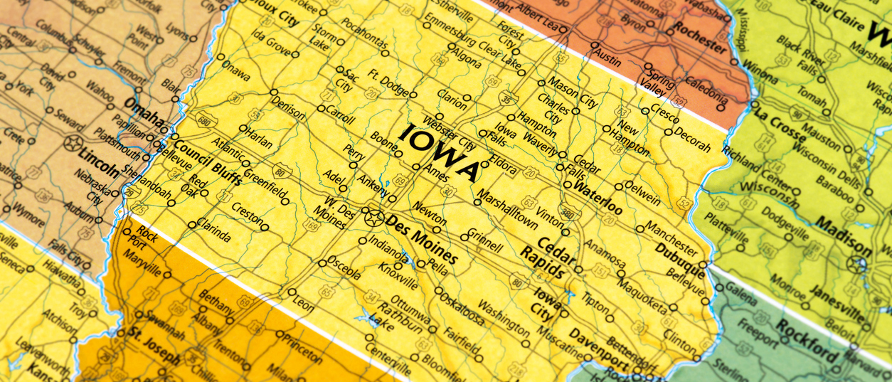 Map of Iowa where premiums are higher due to policy decisions