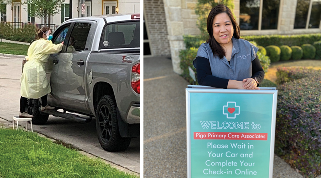 Mobile vaccination clinic at North Texas Health Science Pediatric Center and Dr. Piga with parking lot sign with check-in instructions