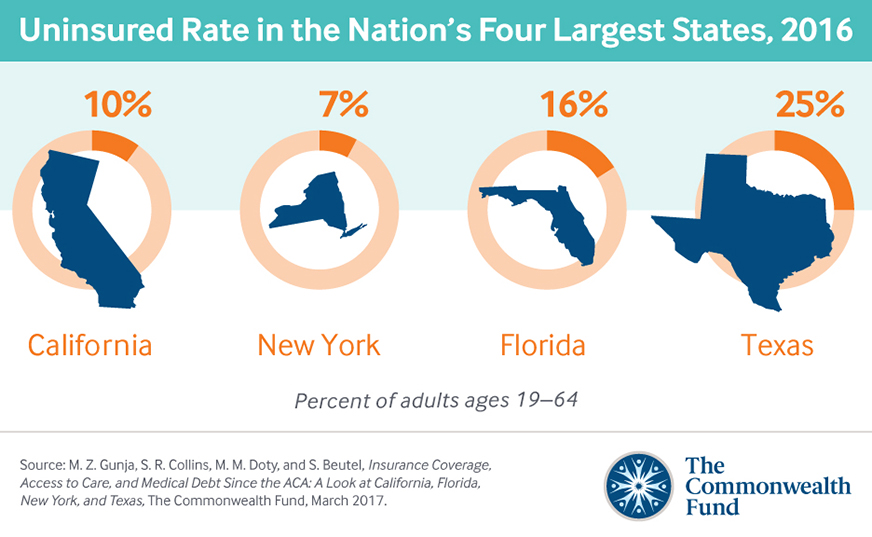 New Report Looks At Nations Four Largest States Since The Aca