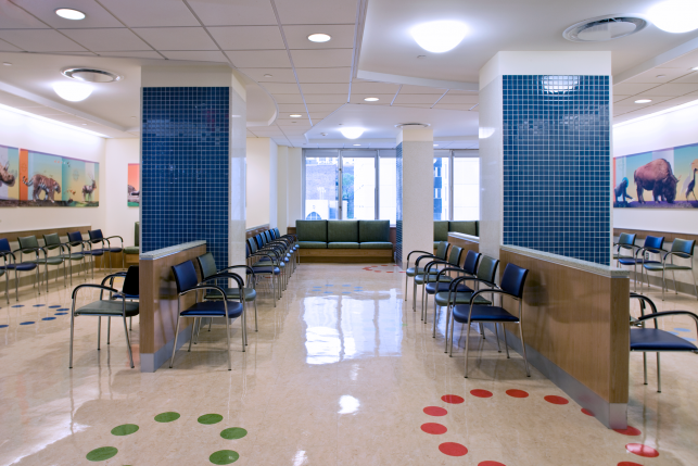 A large waiting room at the New York Hospital Children's outpatient department.