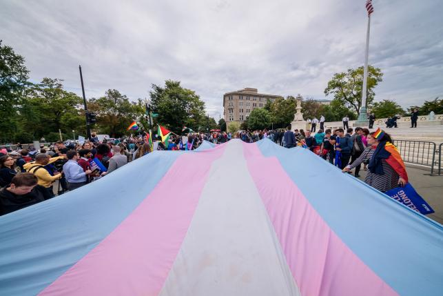 Transgender Rights Flag held by supporters of Trans rights