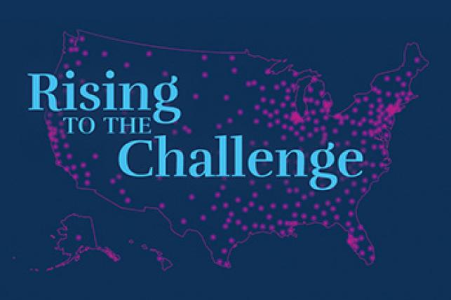 US map saying Rising to the Challenge