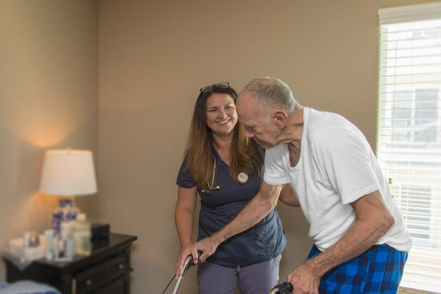 man receives home care help