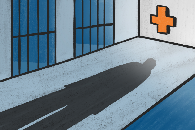 Illustration of inmate's shadow down log hall of prison