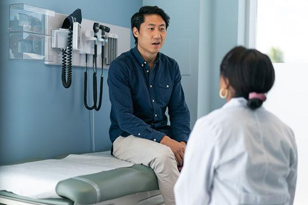 Patient seeing a doctor but concerned about health care prices