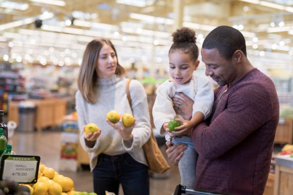 middle-income family shops for groceries