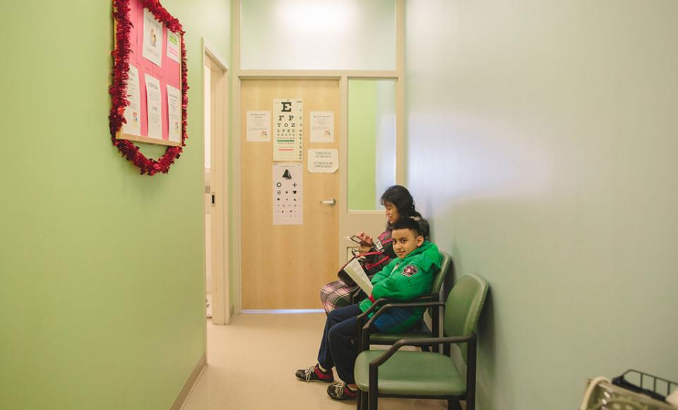 boy and mother in waiting room