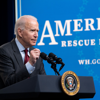 US President Joe Biden speaks about the American Rescue Plan and the Paycheck Protection Program