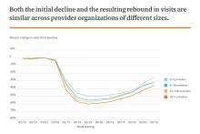 Both the initial decline and the resulting rebound in visits are similar across provider organizations of different sizes.
