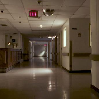 Empty hospital corridor in Wellington, Kansas