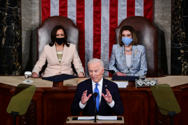 U.S. President Joe Biden addresses a joint session of congress as Vice President Kamala Harris (L) and Speaker of the House U.S. Rep. Nancy Pelosi (D-CA) (R) look on in the House chamber of the U.S. Capitol on April 28, 2021 in Washington, DC.