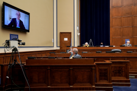 Dr. Giovanni Caforio, chairman and CEO of Bristol Myers Squibb, is remotely questioned by Rep. Virginia Foxx (R–N.C.) during a hearing to discuss unsustainable drug prices with CEOs of major drug companies on September 30, 2020, in Washington, D.C.